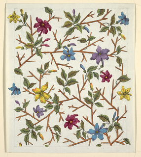 Multi-colored pansey-like flowers, green leaves on bamboo branches.  Lined graphite border.