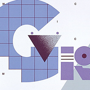 """Poster for lectures given by Michael Graves (b. 1934), September 9-October 15, 1983. Text (various printings of name, Michael Graves) and images integrated throughout. In upper right, information in blue regarding lectures (i.e., title, date, location). Center, """"GRAVES"""" written using abstract architectonic shapes, reminiscent of Graves' design style. In background, multiple renditions of letters in magenta M-I-C-H-A-E-L form a grid."""