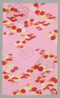 Pink ground with a woven pattern of lotus blossoms and a red, yellow and white printed design of pine boughs and maple leaves.