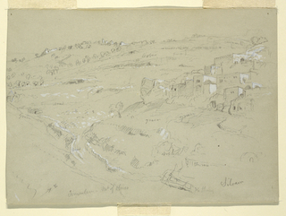 Recto:  Horizontal oblique view down into valley, a continuation of 1917-4-184 verso. Verso: Horizontal view of the tower at Ramleh.