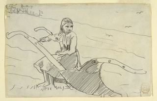 Horizontal view of a girl seated on a plough.