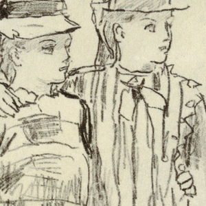 Vertical view of two girls standing together; girl in a plaid dress and a hat, at left, has her left arm around the other's waist and holds a berrying [?] pail in her right hand,  and the girl in a smock dress and hat, at right, has her right arm around the other's shoulder.