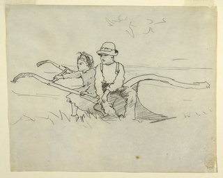 Horizontal view of a boy and girl seated on a plough.