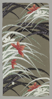 Taupe ground with large red and white blossoms and long thin leafy blades in black, grey, green, and white. Design has a blurry, out-of-focus quality.