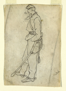 Vertical view of a soldier with sword, standing with a pipe in his mouth, looking downward.