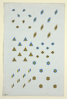 Six patterns with color variations of leaves, triangles, diamonds, ellipses and stars.