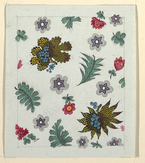 Fern-like leaves, small red flower, purple star-shaped flowers surrounded by black-dotted pattern.  Graphite lined border.