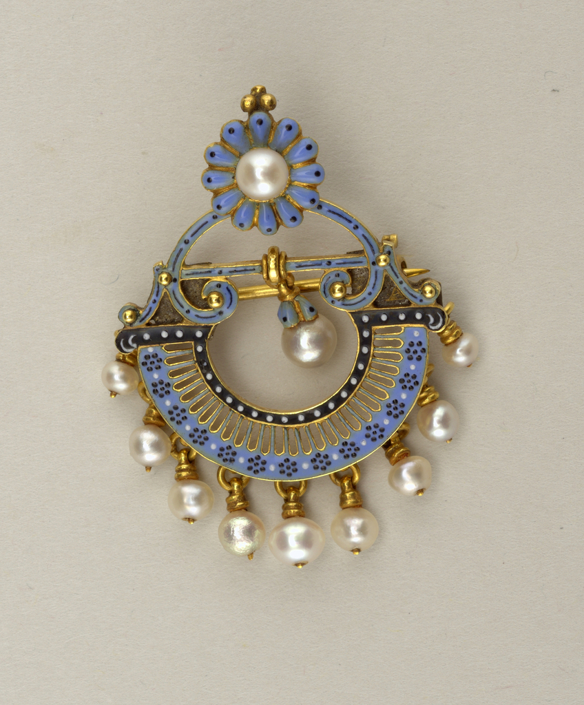 Gold and enamel brooch with one button pearl and ten drop pearls.