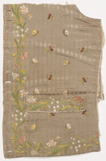 Waistcoat fragment of taupe silk embroidered with a multicolored design of flowers (snowdrops, violas), strawberries and butterflies.