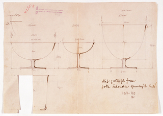 Scale drawing of three stemmed goblets of assorted sizes across center of sheet and one glass tumbler at lower left.