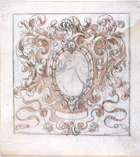 Scrollwork escutcheon, framing an ovoid and having below a small escutcheon framing an oblong.  On top is a helmet with acanthus mantling.  Outlines in the ovoid, in charcoal, a shield with a helmet, with mantling on top; obliquely shown.  Framed approximately as a square above with one, elsewhere with two lines.
