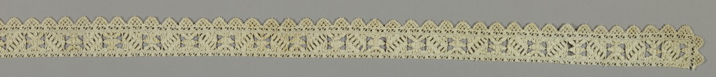Single band composed of geometric motifs in alternating repeat pattern bordered by small triangular pendants.
