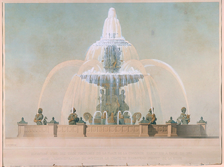 Presentation drawing for the Comte de Rambuteau:  At the fountain  base, at the center of the main basin, are six nude figures personifying the Atlantic, the Mediterranean, and four symbols of maritime fishing industries; these figures sit on prows of ships.  Above them (and between the basin tier and the crowning cap) are four genii, between each of which is a dolphin (below) and a swan (above) sending jets of water into the basin tier.  At the top of the fountain is a mushroom-shaped cap from which water spills to a basin tier, which in turn spills a profusion of water to the larger main basin at ground level. At the perifery of the fountain are nereid figures, each holding a fish which spouts a jet backwards towards the center of the fountain.