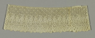 Mechlin sleeve ruffle with the upper part showing floral sprays and leaf ornaments with little squares sprinkled over the field. The lower part has an openwork band with medallions and a scalloped border of pendant flowers.