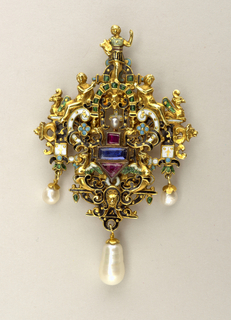 Brooch in the Renaissance style of gold, enamel, rubies, sapphires and pearls.