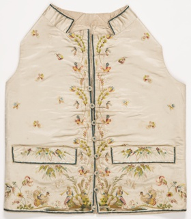 White silk satin waistcoat with white silk plain weave back; with standing collar and straight hemline, pocket flaps and covered buttons. Embroidered with polychrome silks in fifty-three colors, with an over-all floral sprig, floral border at center front, and a design of a boy playing a horn with a turkey at the lower edge.
