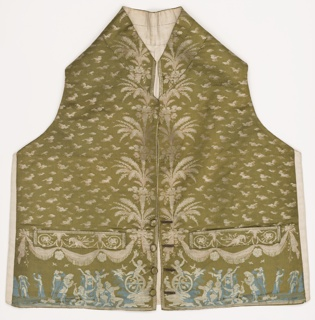 "Gentleman's waistcoat with a small overall pattern and neo-classical leafy sprays symmetrically arranged down the center front, in taupe on an olive green ground. At the lower edge, a ""frieze"" of the Triumph of Cupid in blue and white."