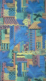 Balustrades, awnings, palm trees and black birds, printed in bright multicolor on black ground.