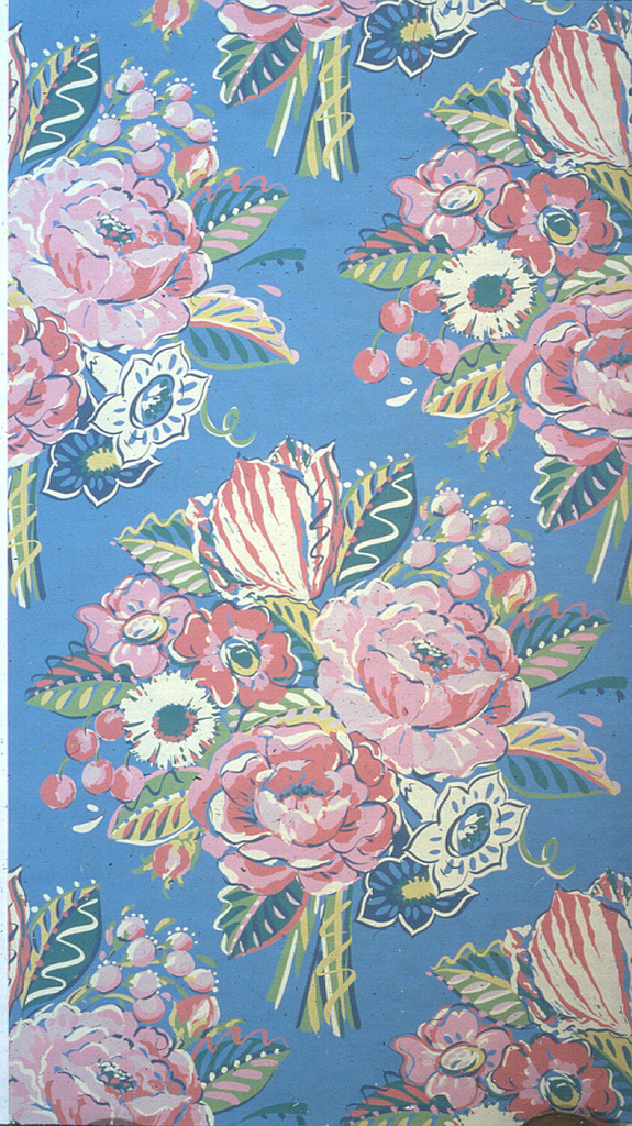 Large floral bouquets, with roses and tulips, printed in red, pink, yellow and green on a medium blue ground.