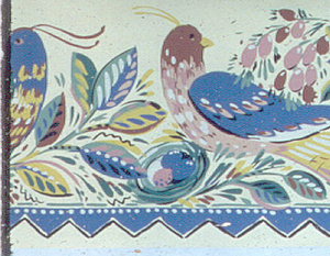 Large brightly colored birds, sitting among brightly colored foliage. Running along bottom edge is a blue zig-zag band. Printed on tan ground.