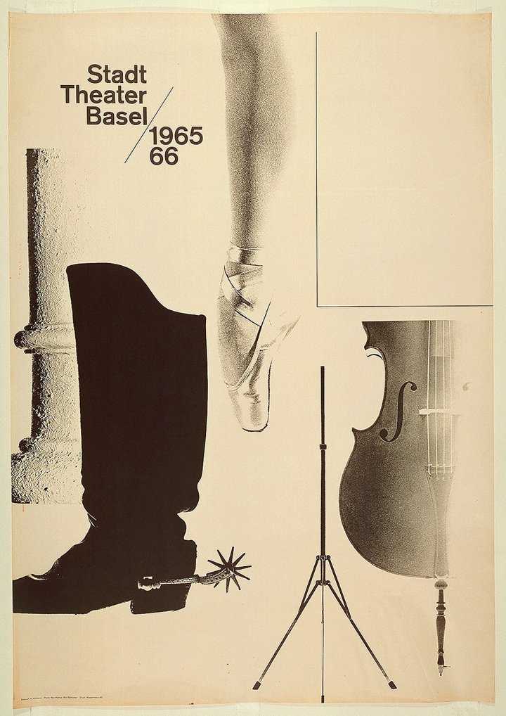 Photographic reproductions of a Classical column, a boot with a spur, a ballet dancer's leg en pointe, a music stand, a quarter of a cello. In upper left quadrant, the following inscription in black letters: Stadt / Theater / Basel / 1965 / 66.