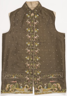 Brown silk waistcoat with a standing collar and welt pockets. Embroidered on center front and lower edges with floral motifs and a chinoiserie design of Chinese figures in dragon boats.
