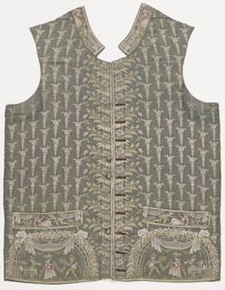Left and right front of gentleman's waistcoat. Dancing figures and letters on pockets.