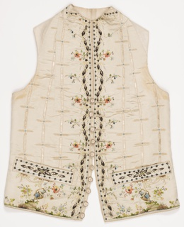 Gentleman's waistcoat with embroidered design of leaves and urns pouring water.