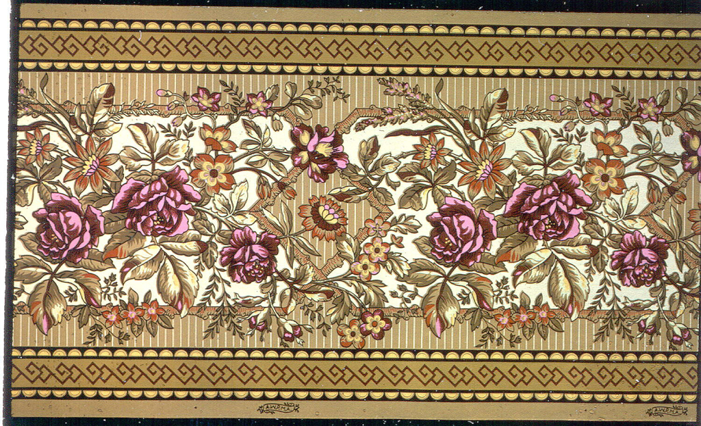 """Frieze or dado in Anglo-Japanesque style. Large red roses with other flowers printed on tan ground set within a rustic stick framework. Printed in striped ground. Ocher band with strapwork running along top and bottom edges. Printed in selvedge: """"A.W.P.M.A."""""""
