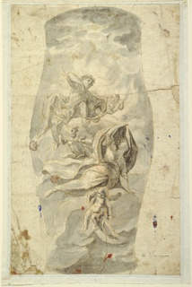Vertical rectangle. Group of mythological figures in clouds, composition contained within vase-shaped framing lines. At top, the figure of Apollo on a cloud with bow and arrow. A reclining female figure below shields herself from his arrow with drapery. Other figures and cherubim throughout.