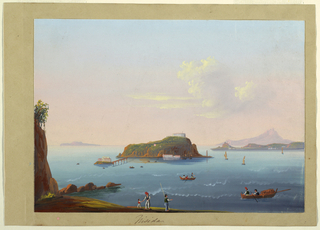 View of the islet Nisida near Naples from the mainland. Boats in the surrounding water and several figures on the Neapolitan shore.