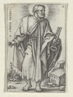 Saint Peter is represented standing frontally, his head turned sharply to the right, almost in profile. He holds the key in his left hand, and gestures with the right hand. On a stone, lower right, appears the monogram ISB and date 1545.
