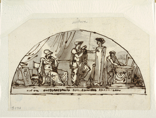Drawing, Design for a Lunette with Allegory of Sculpture