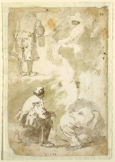 Upper left, a man wearing short pants bending over a task. At tight, two equestrians, one wearing a brimmed hat. Below, left: a man seated on a rock, facing right. Beside him, a larger kneeling figure, shown foreshortened.