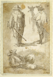 At top, two standing men with brimmed hats and swords, seen from behind. Between them, the bust of a third. Below, a reclining figure facing right.