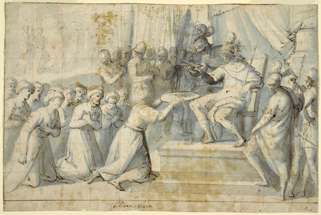 Figures of Turkish Ambassadors kneeling before Don Giovanni of Austria (seated on throne) to present him with a large metal plate. Verso: Faint red chalk sketch of a standing figure.