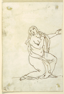 The female figure is kneeling while facing right; her left arm is raised, right arm with knife pointed toward the throat.