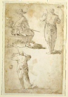 Three figures seen from behind. At top left, a seated man with a brimmed hat and sword. To the right of him, a standing man. Below, a man with one foot on a rock, holding a handle with both hands.