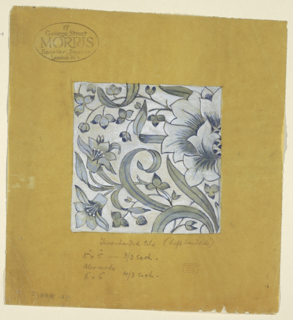 """Square tile design features light blue, light green, and yellow flowers, stems, and leaves on white ground. The """"left hand"""" tile of a """"two-handed"""" tile design."""