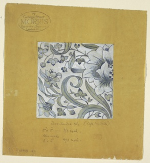 "Blues on white ground showing a portion of a floral arabesque, the ""left hand"" tile of a ""two-handed"" tile design."