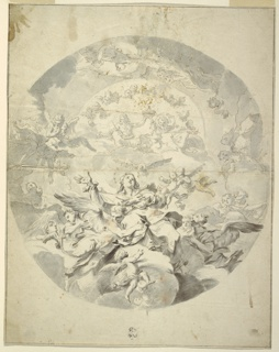 Vertical rectangle, design for a circular ceiling painting. At the bottom is a group of angels lifting the Virgin Mary to heaven. Christ and donor (?) or God the Father, raising a crown together, are shown in clouds above.