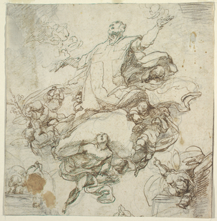 The saint is carried upwards, kneeling upon a cloud, and accompanied by angels, two of whom carry a lily spray and a sheet of paper. The upper outlines of windows are probably indicated below at left and at right. Verso: indistinct figure sketches (in black chalk).