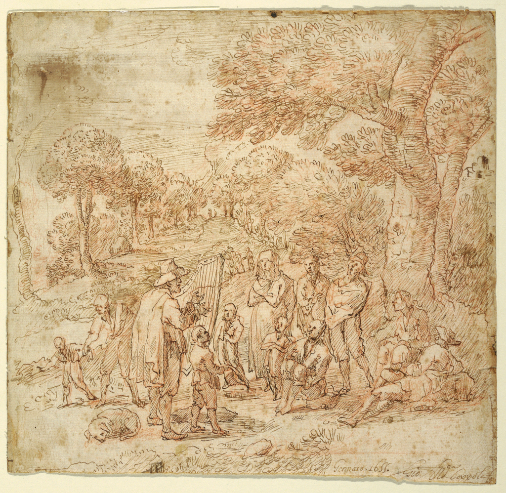 Drawing, Peasants Listening to Itinerant Musicians