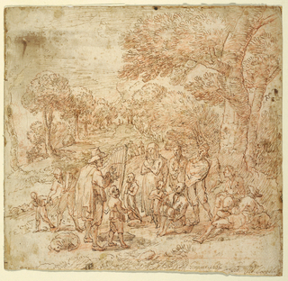 An old man is playing a harp. A figure of a boy, holding a scroll, is singing; a dog is asleep on the left. The peasants, either standing or sitting, are gathered around the musicians. The background shows a view of a mountainous landscape with trees and houses. Verso: the upper part of a sketch depicting a mountainous landscape with trees and houses.