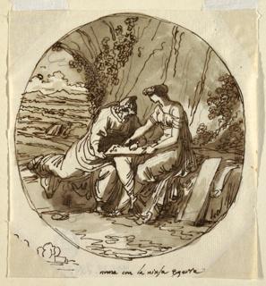 Drawing, Numa Pompilius and Egeria, Sala di Numa Pompilius, Palazzo Milzetti, Faenza