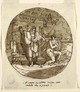 Drawing, The High Priest Punishes a Vestal Virgin, Sala di Numa Pompilius, Palazzo Milzetti, Faenza