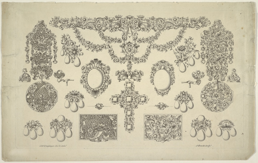 """Projects. Twenty-one designs of jewelry. Pl. 4 of """"A New Book of Designs for Jewellers Work."""" Devised by Sebastian Henry Dinglinger. (Berlin 758). A necklace with a pendant cross is in the center. Pocket pendant watches over pairs of earrings are at the outer sides. Besides: seals, pins, covers of boxes, brooches, frames."""