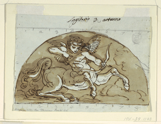 Winged putto-centuar shooting his bow and arrow in demi lune.