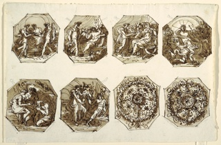 Six octagons showing Hercules and Hebe: 1) Wedding of Hebe and Hercules; their right hands joined as they stand before Jupiter. 2) Hebe offers nectar to Jupiter and approaches seated gods. 3) Hebe offers nectar to Juno, seated at right, in front of goddesses. 4) Hebe shown falling, holding pitcher and cup. Gods seated in rear with Jupiter in center. On the bottom: 5) Hebe rejuvenates charioteer of Hercules. Hebe seated at left, holds bowl from which kneeling man drinks. Hercules with chariot.  6) Hebe offers nectar to Hercules. Mercurius leads her to Hercules. Two foliated ornaments of different designs, each consisting of center rosette and outer wreath connected by radially disposed plant motifs.
