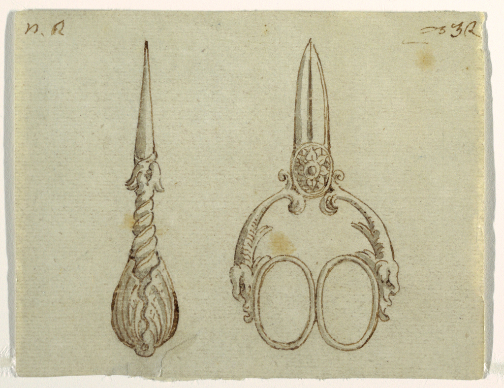 Vertical rectangle showing two objects with, possibly, a punch or needle threader at left and a pair of scissors whose handles are formed by half-figures of sea monsters.